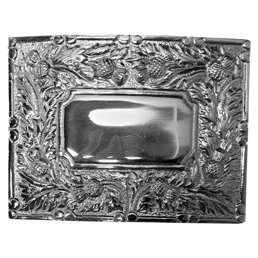 Brand New Celtic Thistle Kilt Buckle in Chrome Plated Mirror Design AAR KBBT-9