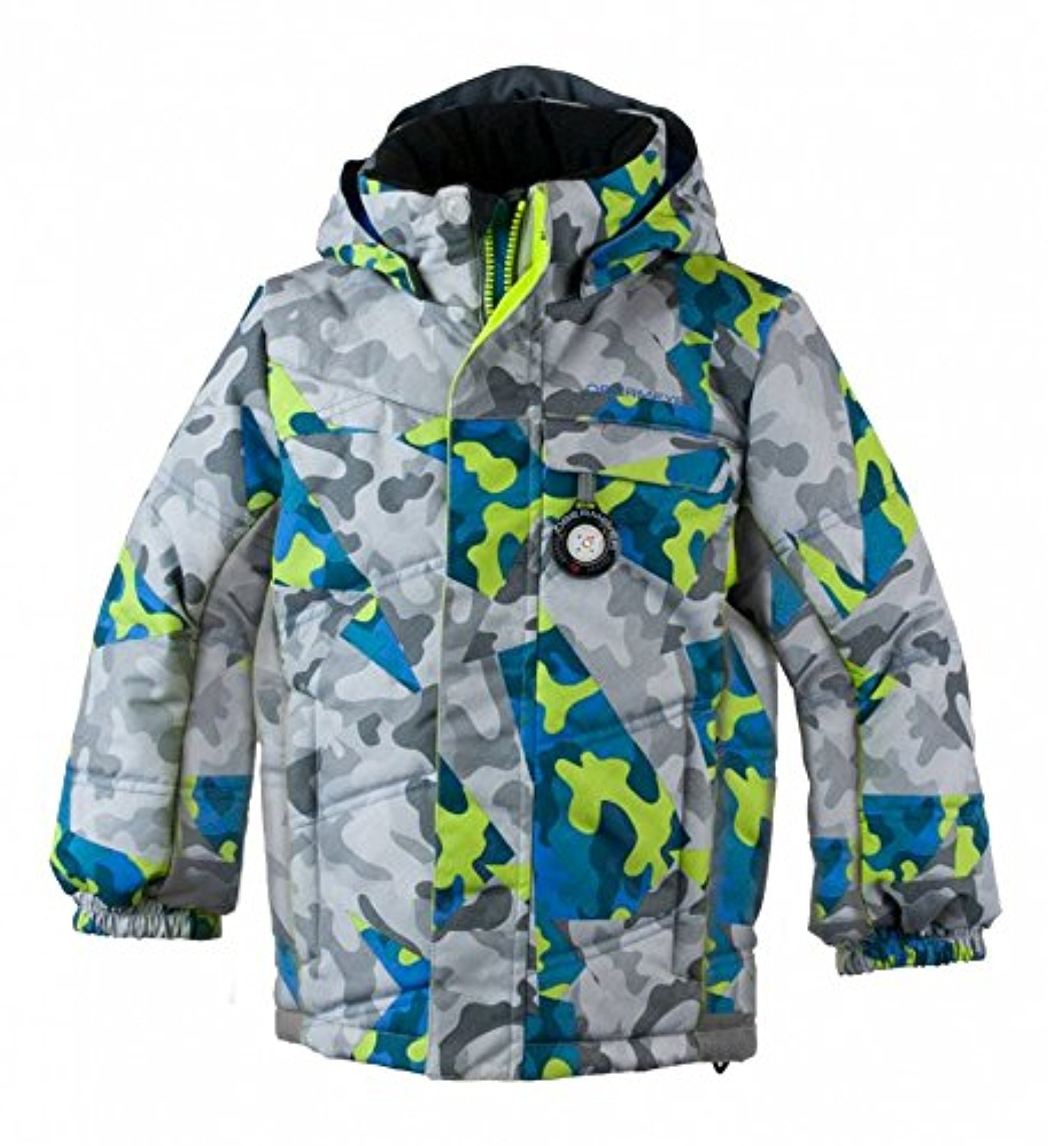 Obermeyer Kids Boys Hawk Jacket Fractal Camo 6 & E-tip Glove Bundle by Obermeyer