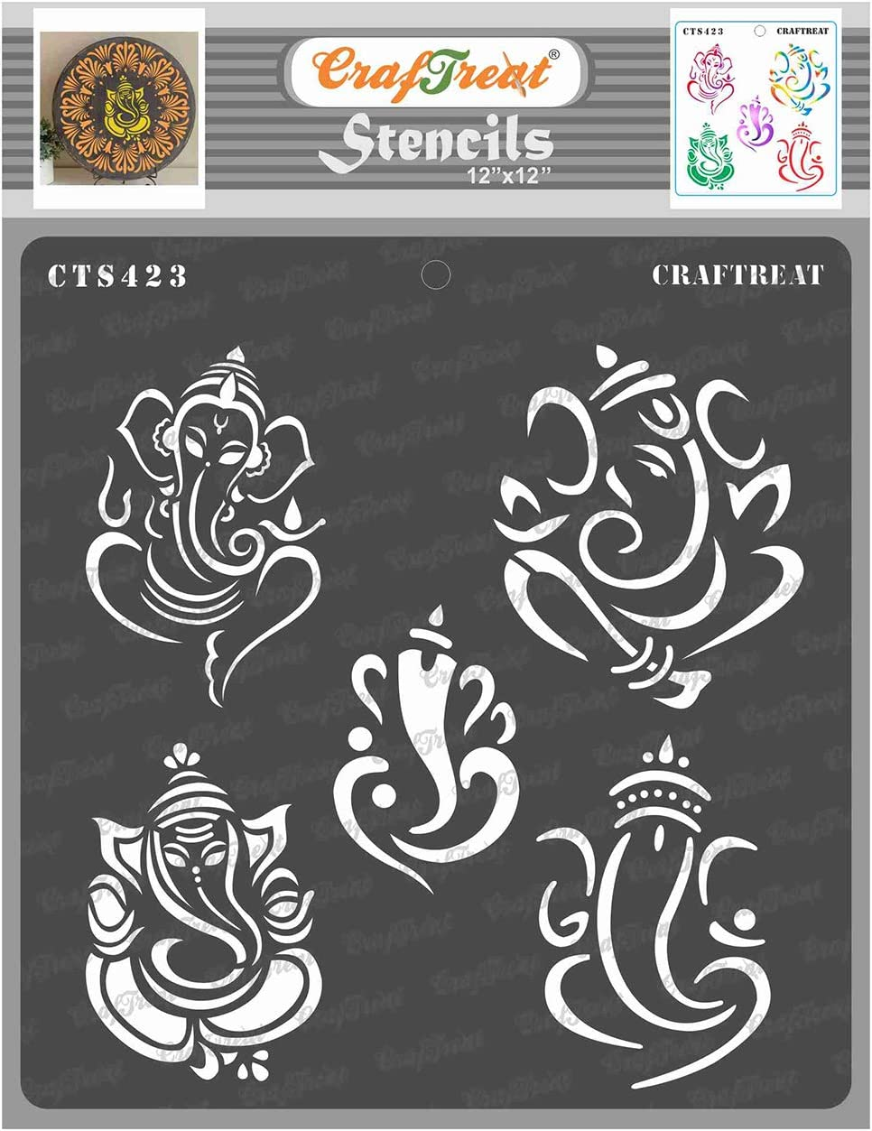 CrafTreat Ganesh Stencils for Painting on Wood, Wall, Tile, Canvas, Paper, Fabric and Floor - Ganeshas - 12x12 Inches - Reusable DIY Art and Craft Stencils - Indian God Stencils for Home Decor