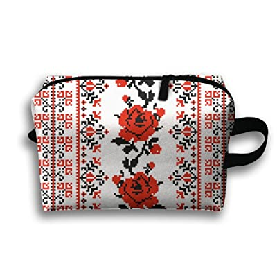 HOT Ukrainian Embroidery Style Rose.Jpg Portable Travel Bag Female Travel Cosmetics Can Also Be Easy To Carry£¡
