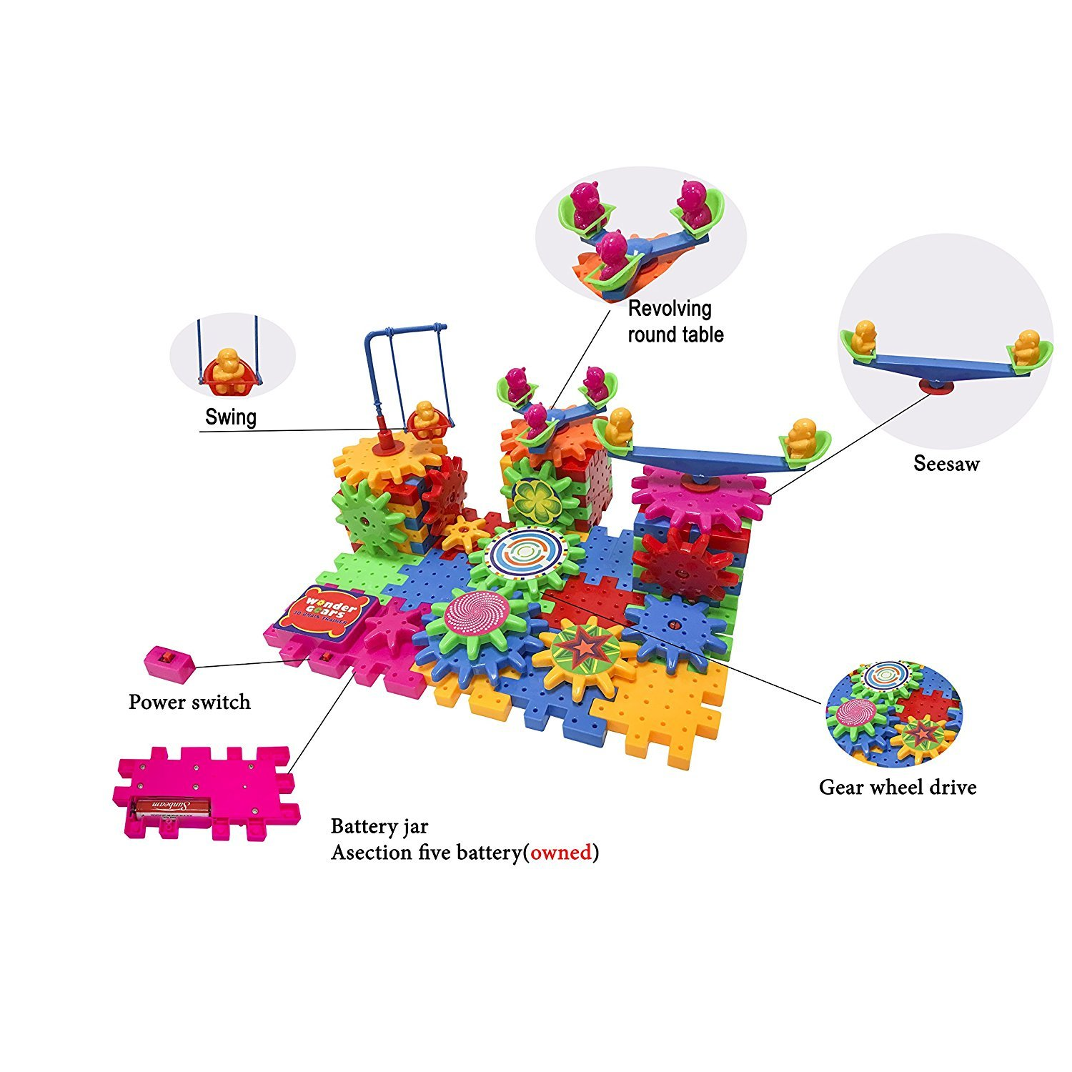 Wonder Gears Motorized Building Set (81-Pieces) Hours of Fun for Your Kids | Boost You Child Creativity, Imagination & Logical Skills