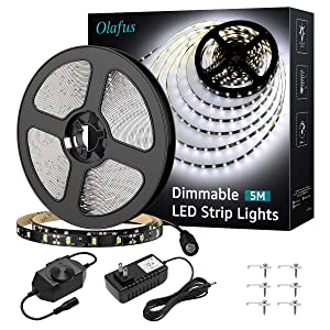 Olafus LED Strip Lights Kit Dimmable 12V 16.4ft 300 LEDs Under Cabinet Lighting, 6000K Daylight White LED Ribbon, 2835 LED Tape for Kitchen Bedroom Bar, Non-Waterproof UL Listed Power Supply
