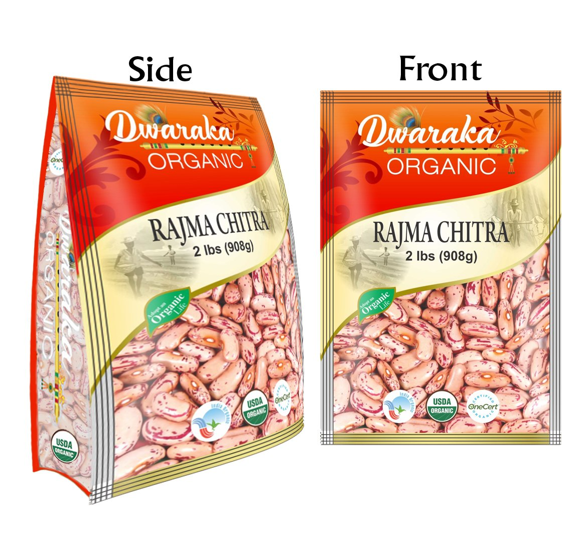 Dwaraka Organic Speckled Kidney Beans Chitra Rajma - USDA Organic (2 lbs / 908 g)