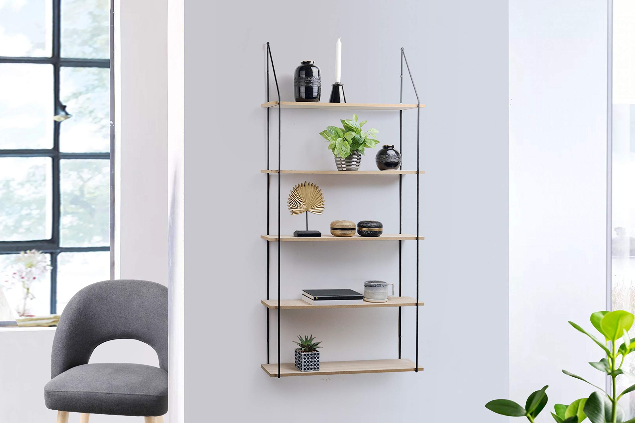 lifa living 5 tier wall shelf unit floating shelves for kitchen bedroom living room wooden black metal decorative vintage hanging shelves different sizes