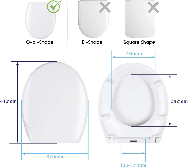 Lunette de Toilette Forme O en Duroplast Cuvette Toilette Blanche Clipsable Declipsable pour un Nettoyage Facile Fixation en Acier Inoxydable. Abattant WC Avec Frein de Chute