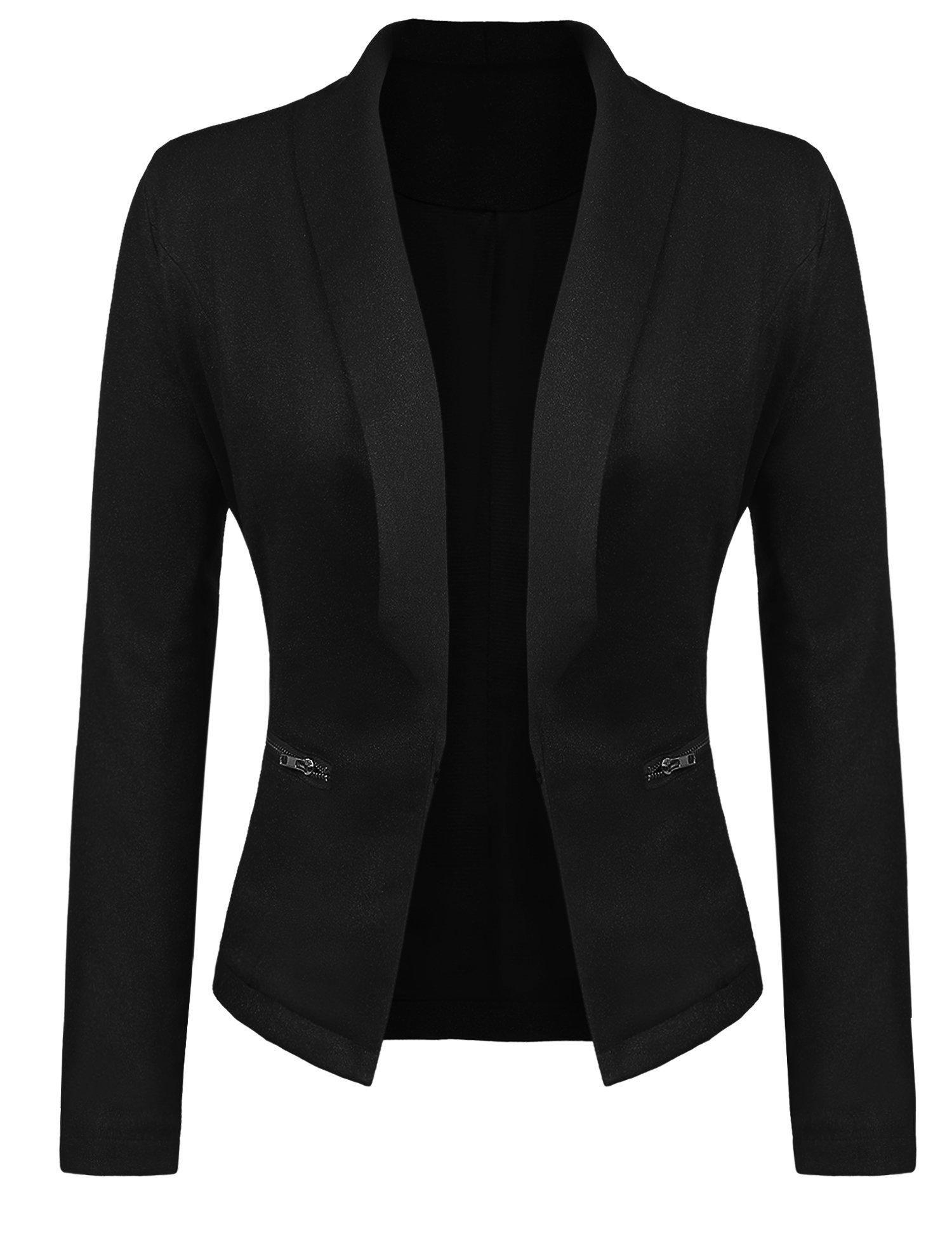 Gfones Women's Casual Open Front Work Office Jacket Ruffles 3/4 Sleeves Blazer (XL, Black1)