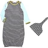 Baby Boy Girl Stripe Long Sleeve Night Gowns Sleeping Bag Pajamas with Hat