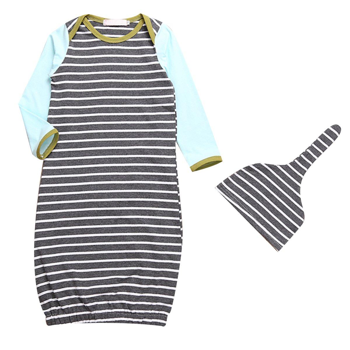 Ant-Kinds Baby Boy Girl Stripe Long Sleeve Night Gowns Sleeping Bag Pajamas Hat
