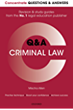Concentrate Questions and Answers Criminal Law: Law Q&A Revision and Study Guide (Concentrate Law Questions & Answers)