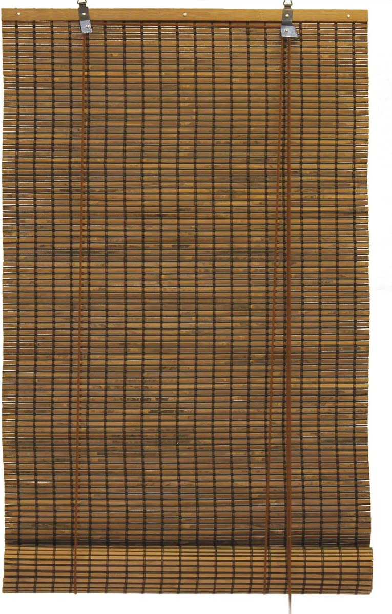 Seta Direct, Bamboo Slat Roll Up Window Blind 72-Inch Wide by 72-Inch Long, Espresso Brown
