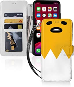 Gudetama Retro Japanese Street Fashion Designer iPhone 11 Series Wallet Case with Card Holder Bumper Cas Cover Functional Anti-Fall with Hand Strap Holder