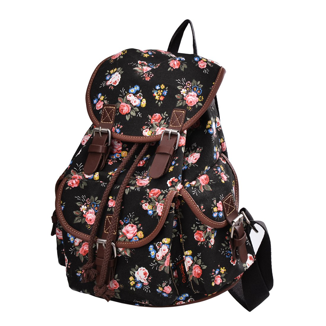 17badd7dae8d Amazon.com  Epokris Black Backpack for Girls Floral School Bags for Girls  Backpack Book Bag for Girls Daypack Floral Backpack for teens Girls 163BL   Toys   ...
