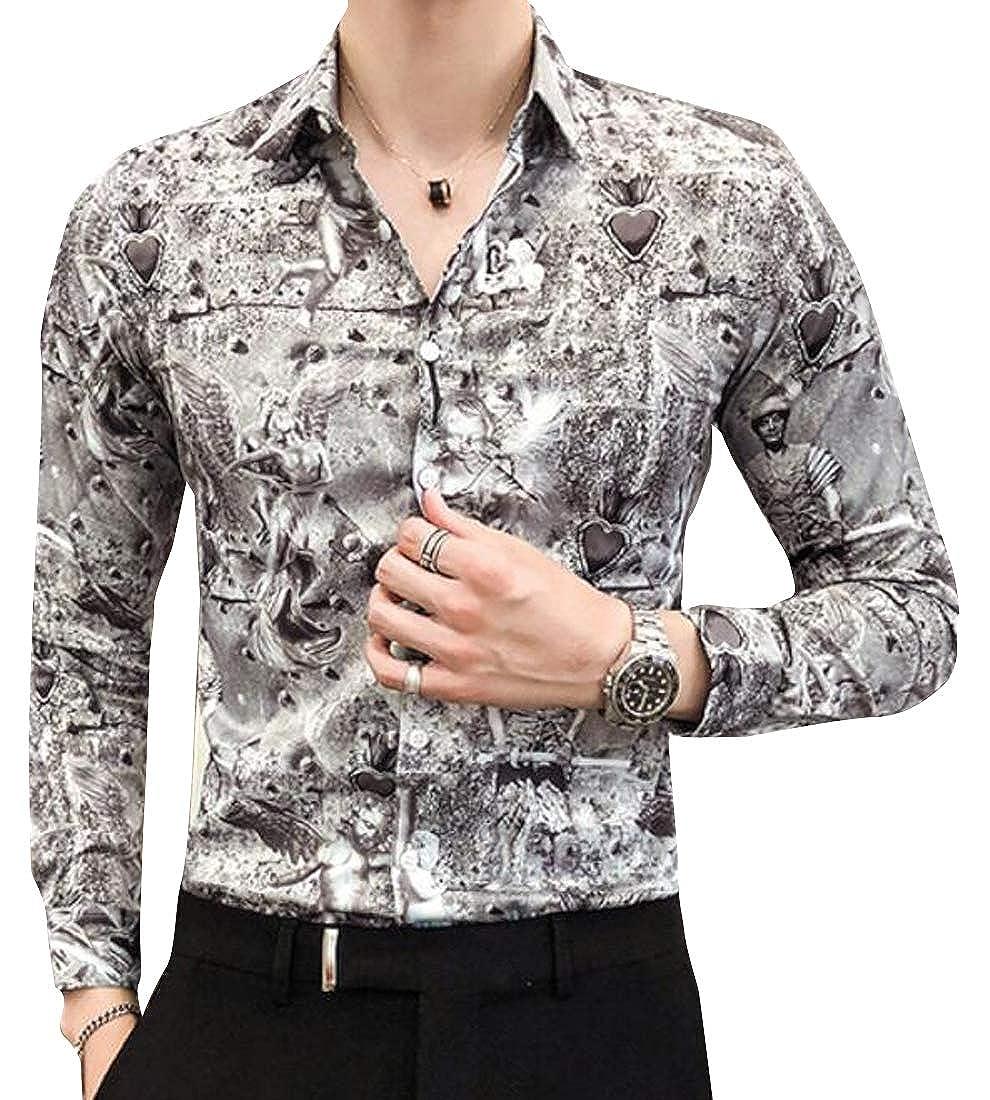 YYG Mens Vogue Long Sleeve Floral Regular Fit Turn Down Collar Button Down Dress Work Shirt
