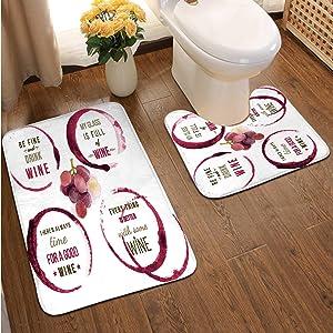 Wine TPE Designs Wine,Bathroom Rugs Luxur 2-Piece Bath Mat Set Wine Cask