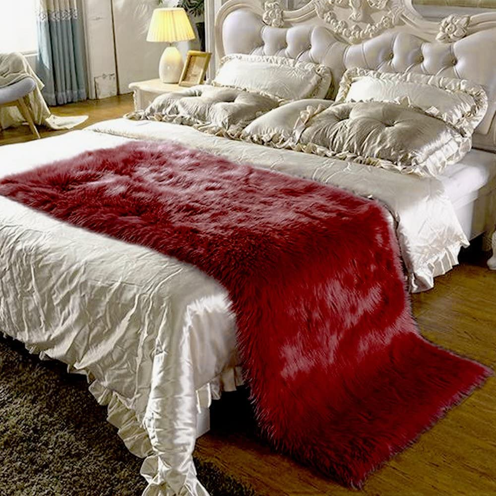 Luxury Soft Faux Sheepskin Fur Area Rugs for Bedside Floor Mat Plush Sofa Cover Seat Pad for Bedroom 2x6ft,Wine Red