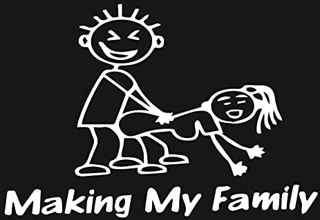Making my family stick people decal euro window sick funny car vinyl sticker white