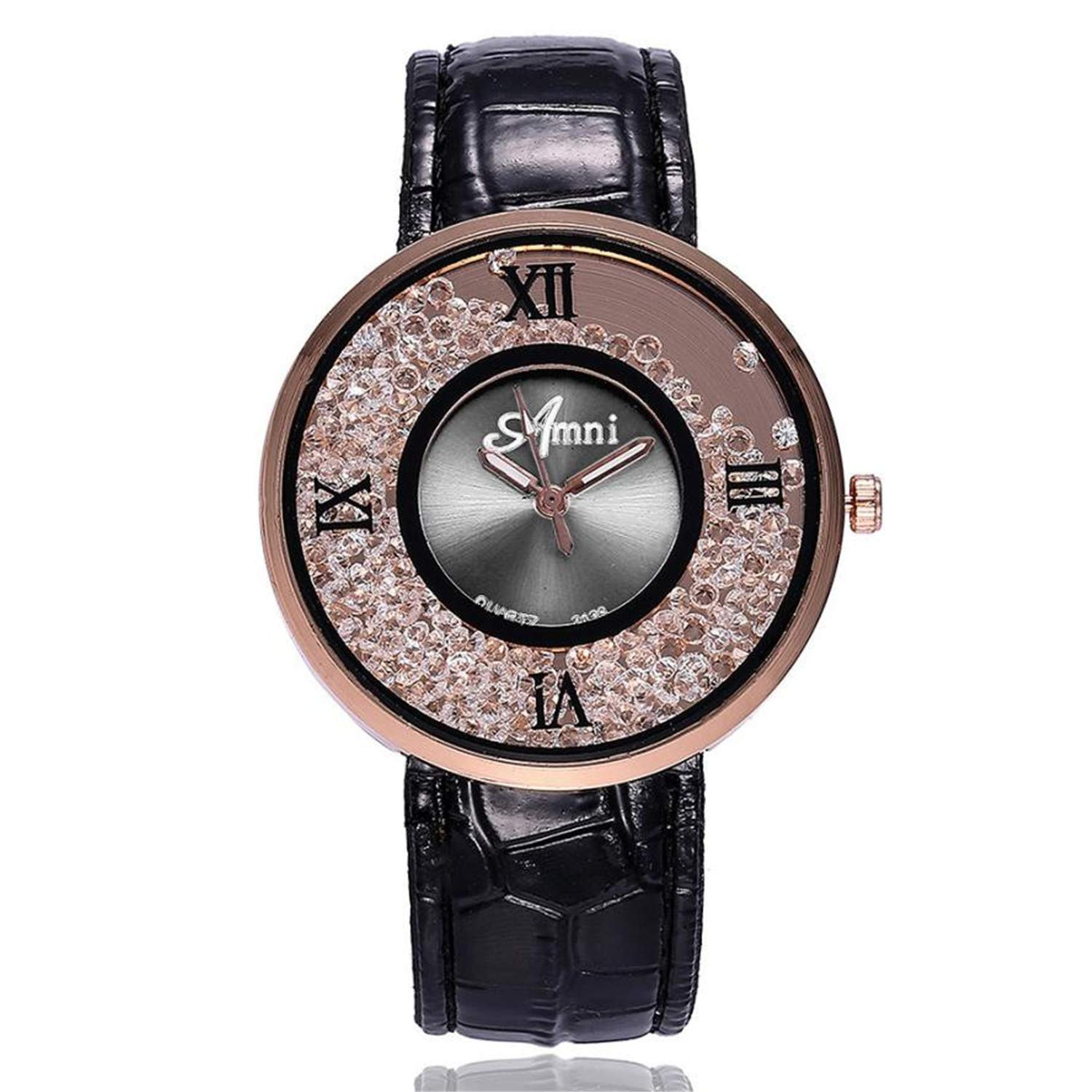 Amazon.com : naivety Women Fashion Quicksand Bead Watches Casual Ladies Dress Rhinestone Dial Leather Analog Quartz Wrist Watches Relojes para Mujer(Black, ...