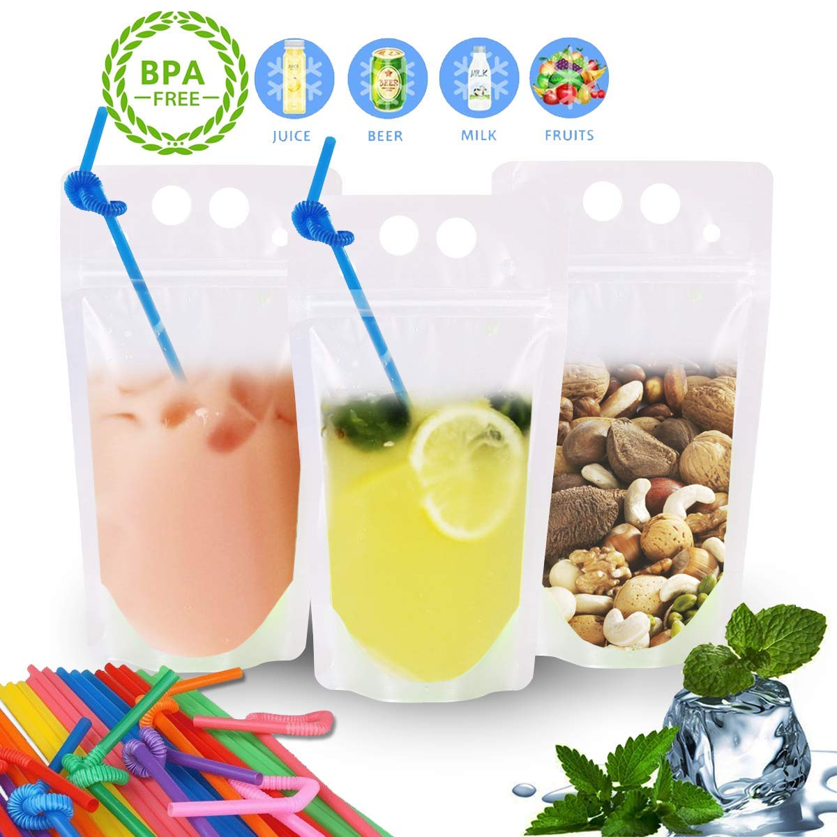 EXSPORT Upgraded 100 Pack Clear Drink Pouches Bags Food Storage Bags Reusable Snack Bags with 100 Drink Straws ( No Logo by EXSPORT