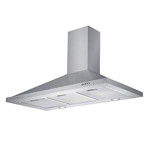 CIARRA, Cappa aspirante Versione migliorata 90 cm, 550 m³ / h,100W Cappa da  Cucina in Acciaio Inox Luce a LED e 3 velocità
