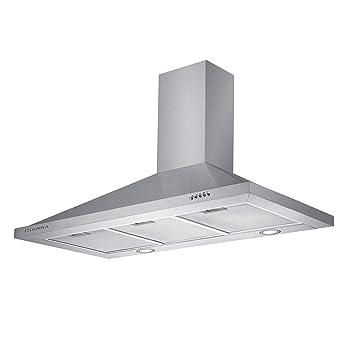 CIARRA Campana extractora Cocina Pared Versión Mejorada 100W 90cm 550 m³/h Luz LED y 3 Velocidades Teclas Filtro de Grasa Reduce Ruido Menos de 63 ...