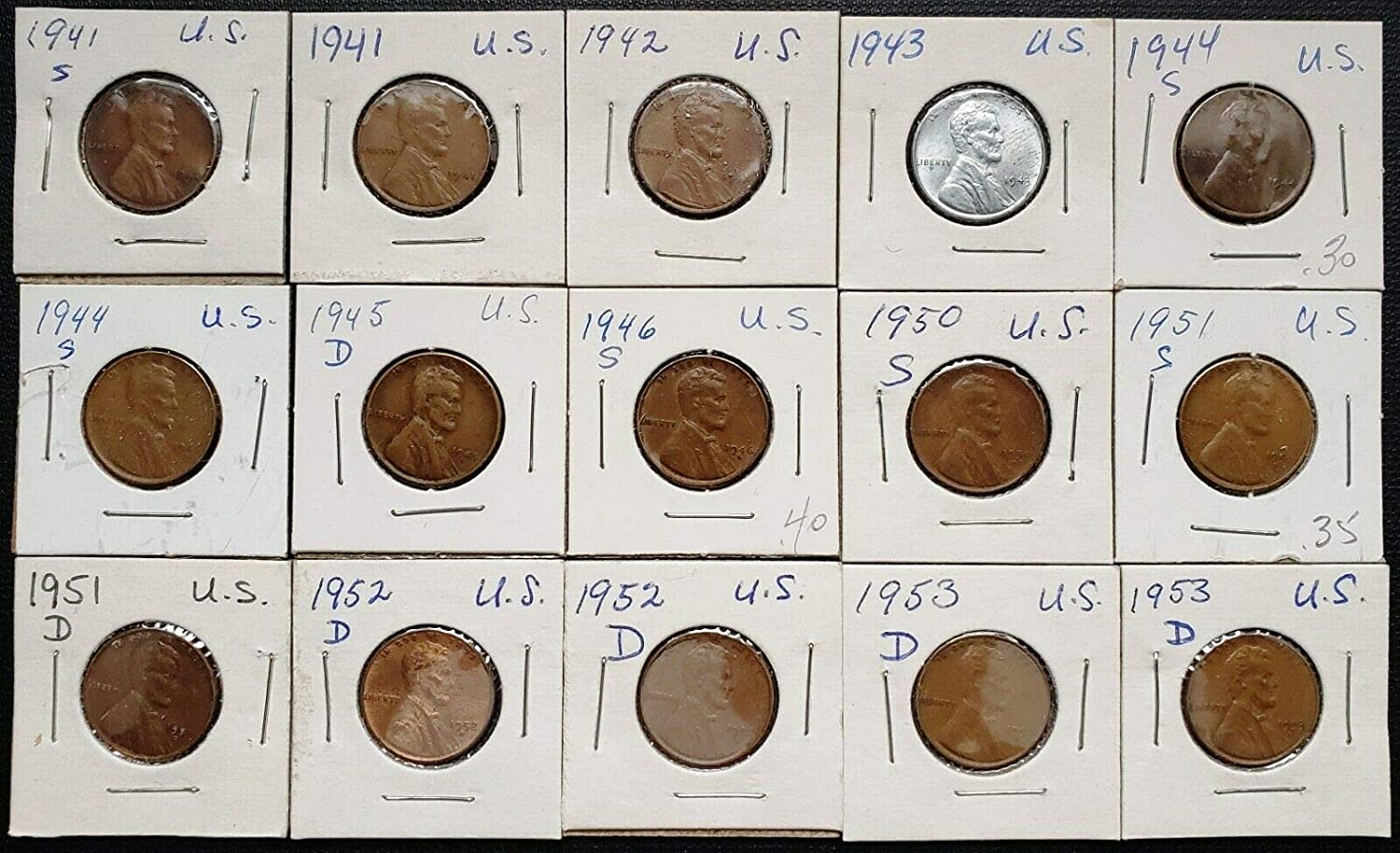 Dates Lot of 15x USA Lincoln Wheat Cents 1941 to 1953