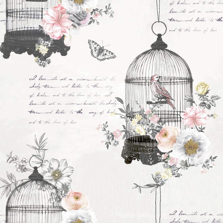 Arthouse 259700 - Papel pintado, diseño de jaula de pájaros y ...