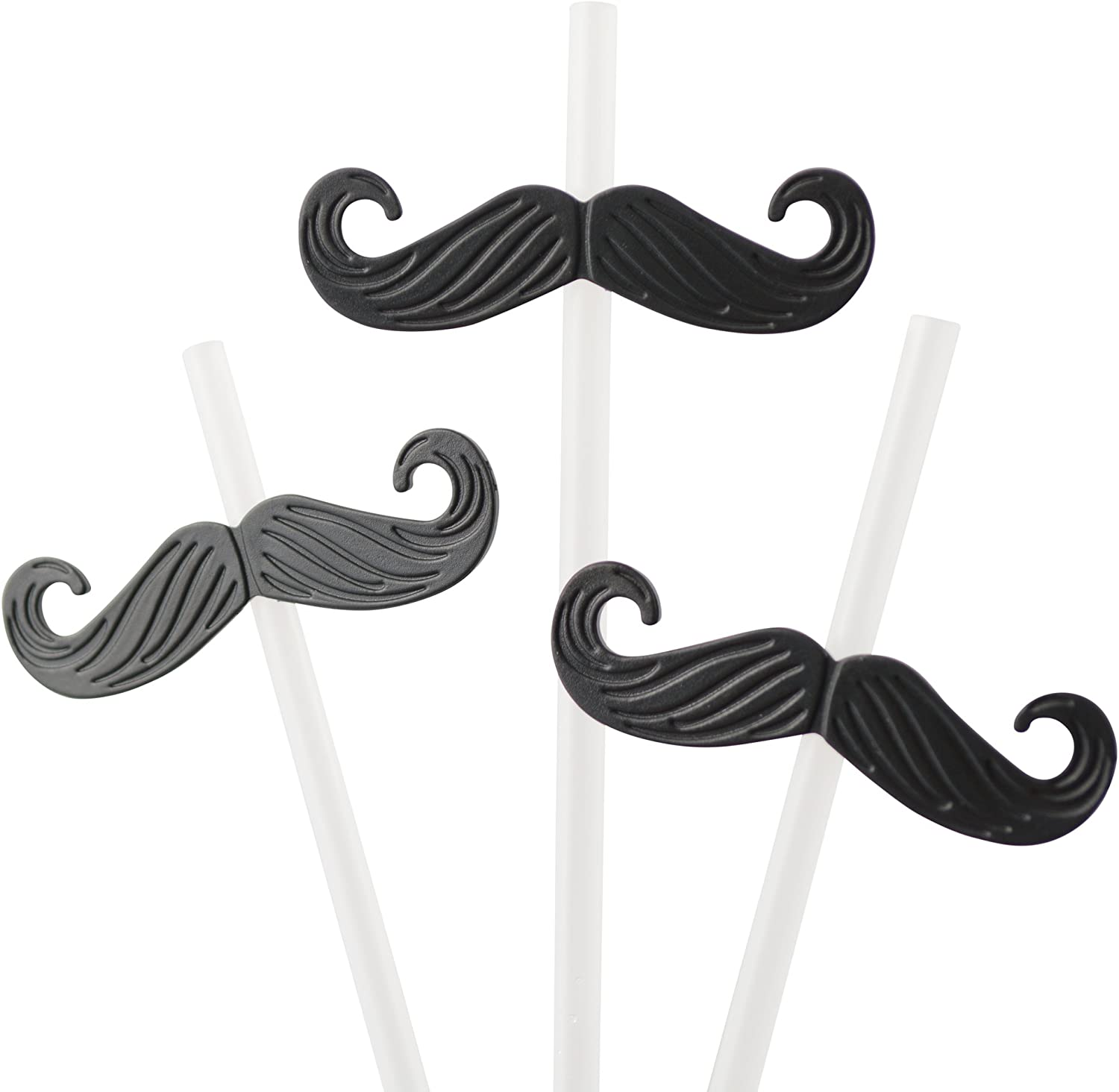 Flexi-Bend Plastic Clip On MOUSTACHE Drinking STRAWS x 5 Perfect for Parties