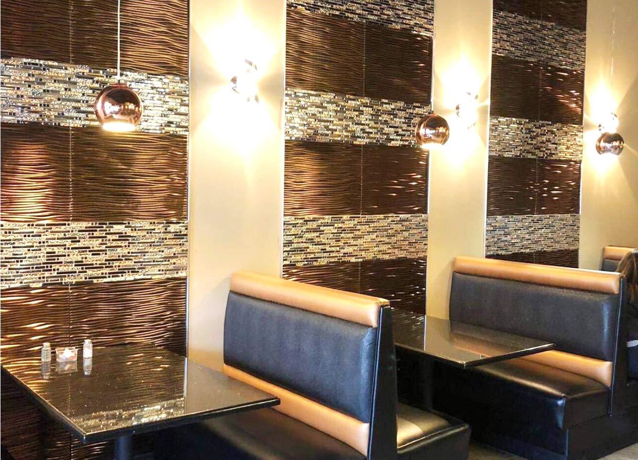 TST Mosaic Tiles Crystal Glass Tile Interlocking Black Brown Mosaic Bath Kitchen Fireplace Decor TSTGT107 (5 PCS [12'' X 12''/Each]) by TST MOSAIC TILES (Image #9)