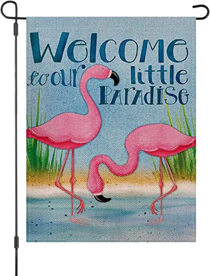 Amazon Com Welcome To Our Little Paradise Pink Flamingo House Garden Flag Burlap Double Sided Yard Outdoor Decoration 12 5 X 18 Inch Garden Outdoor