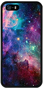 Purple Galaxy iPhone 5s 5 SE Case, PC and TPU Shockproof Slim Anti-Scratch Protective Kit with Heavy Duty Dual Layer Rugged Case Non-Slip Grip Cover for iPhone 5s 5 SE,Black
