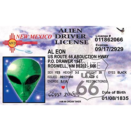 Nnmid6 Fun Nm's Driver's 66 License 4 Signs Alien