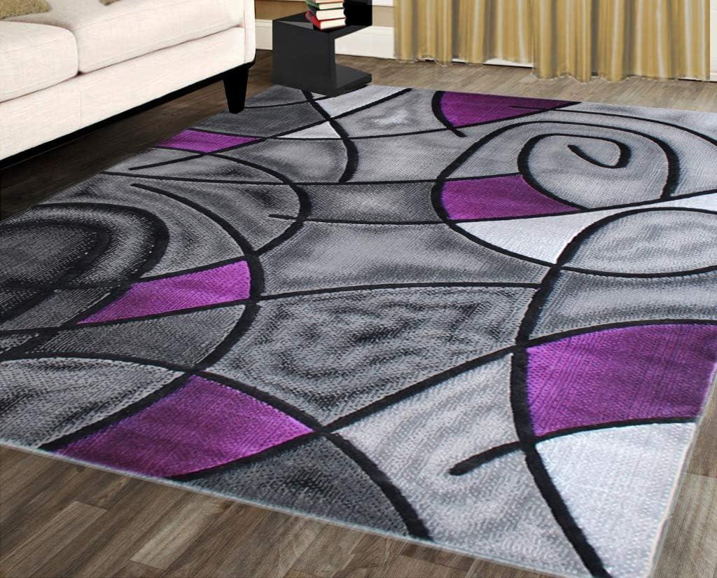 Masada Rugs Modern Contemporary Area Rug Purple Grey Black 8 Feet X 10 Feet Kitchen Dining