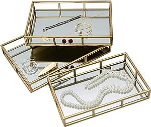 3 Pcs Nesting Gold Mirror Tray, Decorative Jewelry Perfume Trays for Vanity, Dresser, Bathroom, Bedroom Display, can Hold Cosmetics, Makeup, Magazine