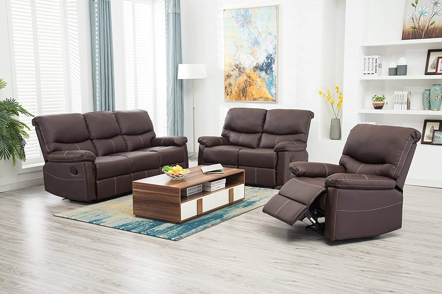 Recliner Sofa Sectional Reclining Chair Three seat Modern Furniture Set for  Living Room Classic and Traditional — Catalog Furniture