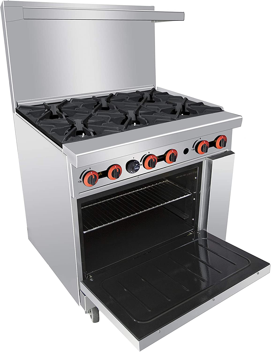 Commercial Liquefied Propane Range 6 Burners with 2 Ovens-KITMA 36 Inches Heavy Duty Gas Range Cooking Performance Group for Restaurant