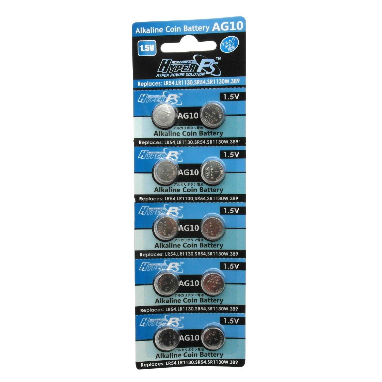 10 pcs AG10 GP189 SR54 LR1130 L1131 1.5V Alkaline Button Cell Battery HyperPS