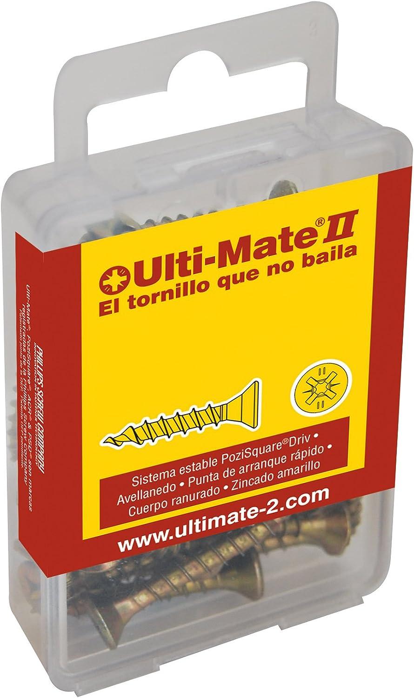 Set de 40 Piezas Ulti-Mate II S45060L1 Caja grande con tornillos de alto rendimiento para madera acabado BICROMATADO y punta PSD de 25mm incluida de 4,5 x 60 mm
