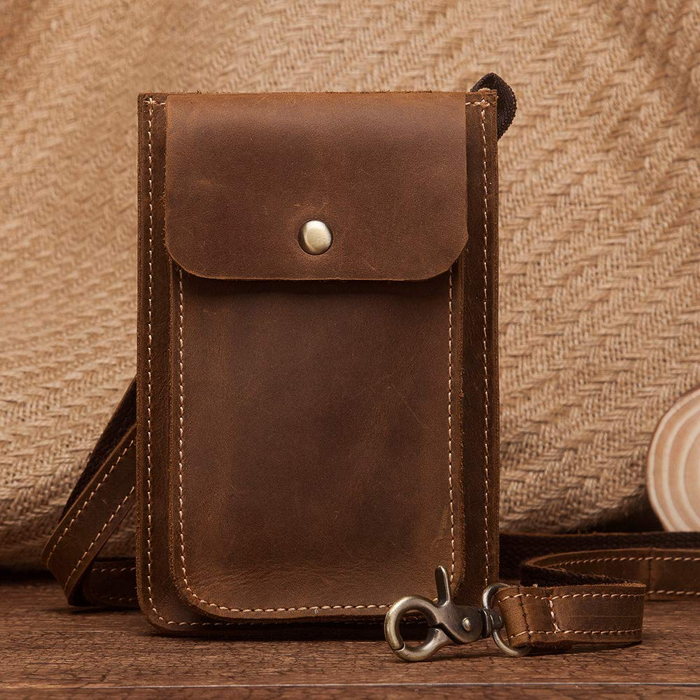 H-LongS.J Leather Mobile Phone Mens Pockets Travel Small Mini Wallet Retro Casual Shoulder Bag