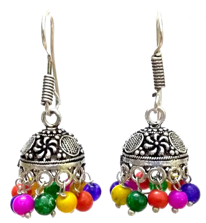 DESI HAWKER Silver Oxidized Earring Bali Jhumki Jhumka Jewelry Bollywood Drop Dangle Hook Chandelier Floral NI-199