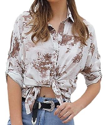 Camisas de Manga con Botones y Corbata Hipster para Mujer - Marrón ...