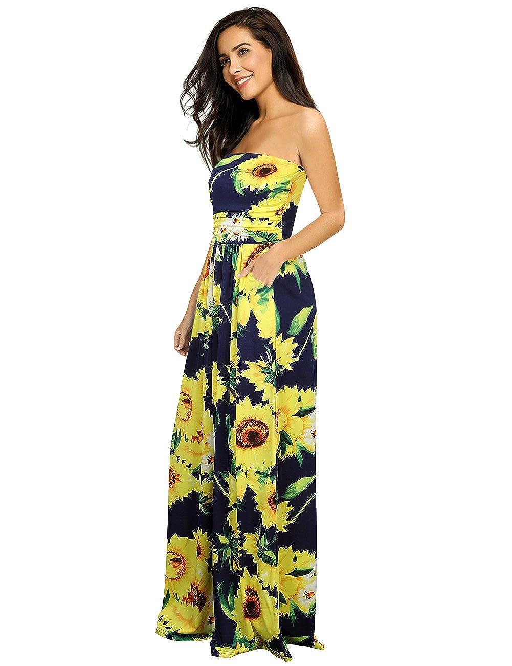 beb03f61601b1 Leadingstar Women's Floral Casual Beach Party Maxi Dress