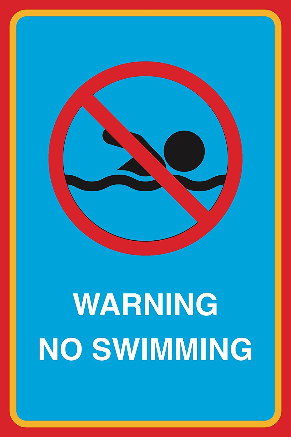 Warning No Swimming Print Picture Pool Beach Water Safety Sign Aluminum Metal