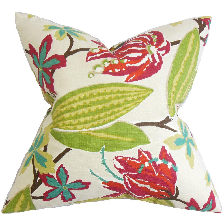 The枕コレクションp20-rob-brightfloral-fuchsia-c Averillフローラル枕、ピンク、20