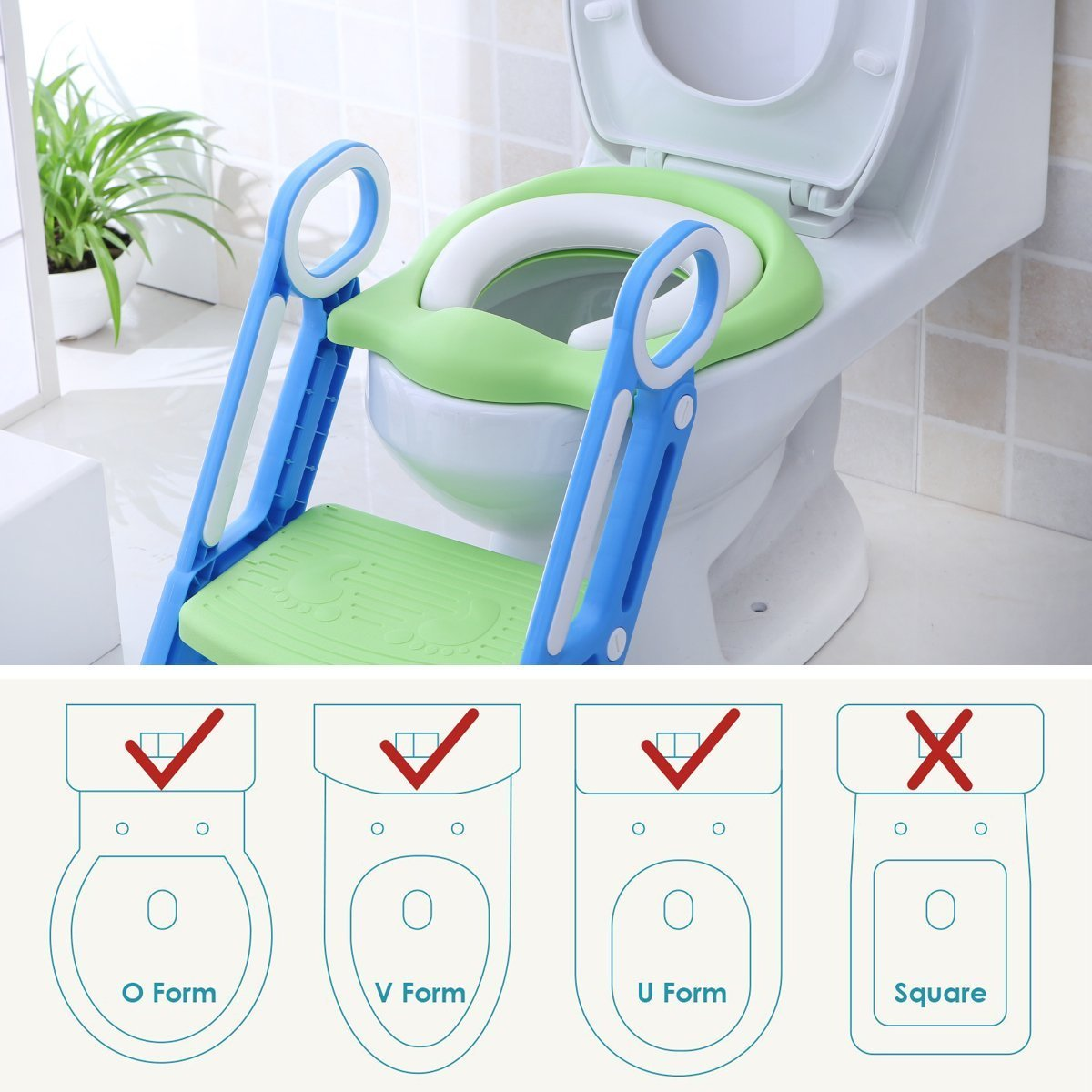 Mangohood Potty Training Toilet Seat with Step Stool Ladder for Boy and Girl Baby Toddler Kid Children's Toilet Training Seat Chair with Soft Padded Seat and Sturdy Non-Slip Wide Step (Blue Green) by Mangohood (Image #7)