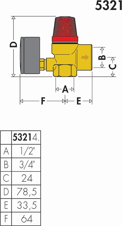 Caleffi 532143 Membran-Sicherheitsventile 1//2 Zoll IG x 3//4 Zoll IG 3 Bar f/ür Heizung mit Manometer
