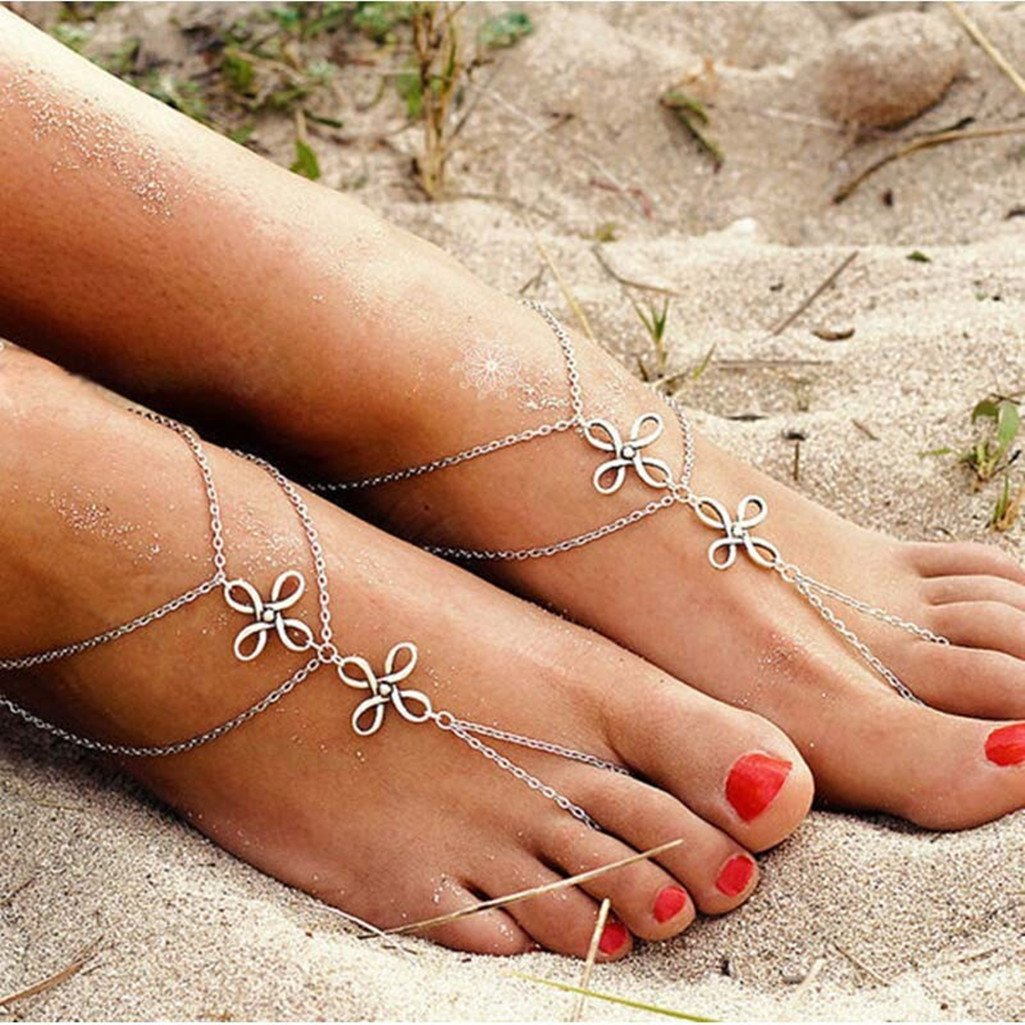 XILALU Fashion Beach Multi Tassel Toe Chain Link Foot Jewelry Anklet Chain