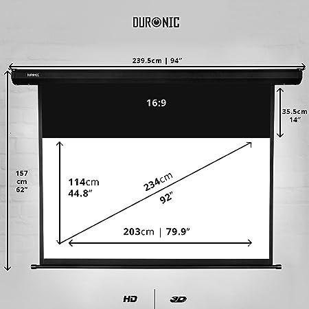 """Duronic EPS92 /169 Pantalla de proyección 92"""" Pulgadas (203 cm X ..."""
