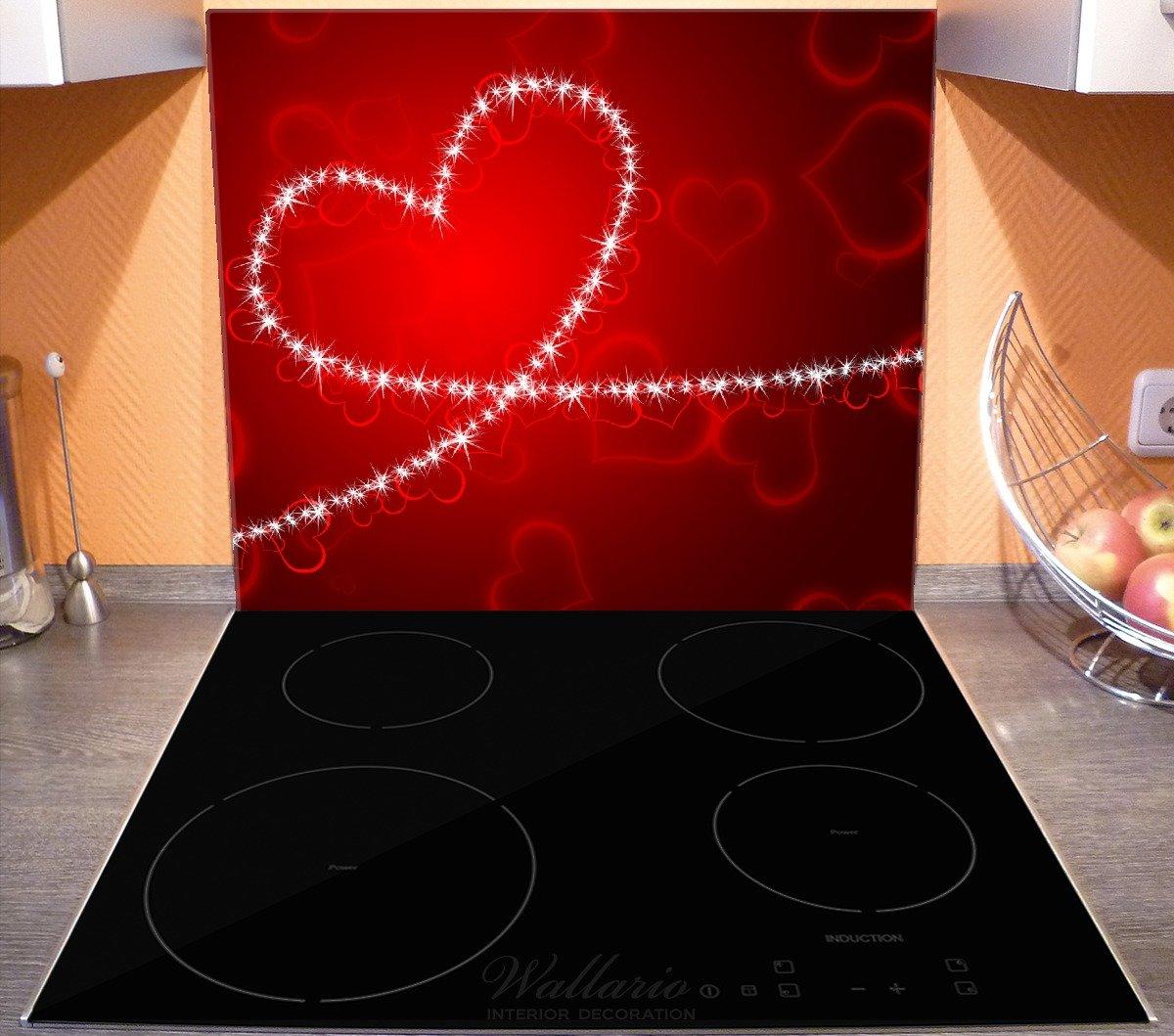 80x52cm Leuchtendes Herz aus Wallario Herdabdeckplatte 2-teilig aus Glas