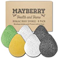 Konjac Facial Sponge (6 Pack) Individually Wrapped Pure (White), Bamboo Charcoal (Black), Turmeric (Yellow), and Green Tea (Green) Konjac Drop Shape Sponges for Soft and Gentle Cleansing