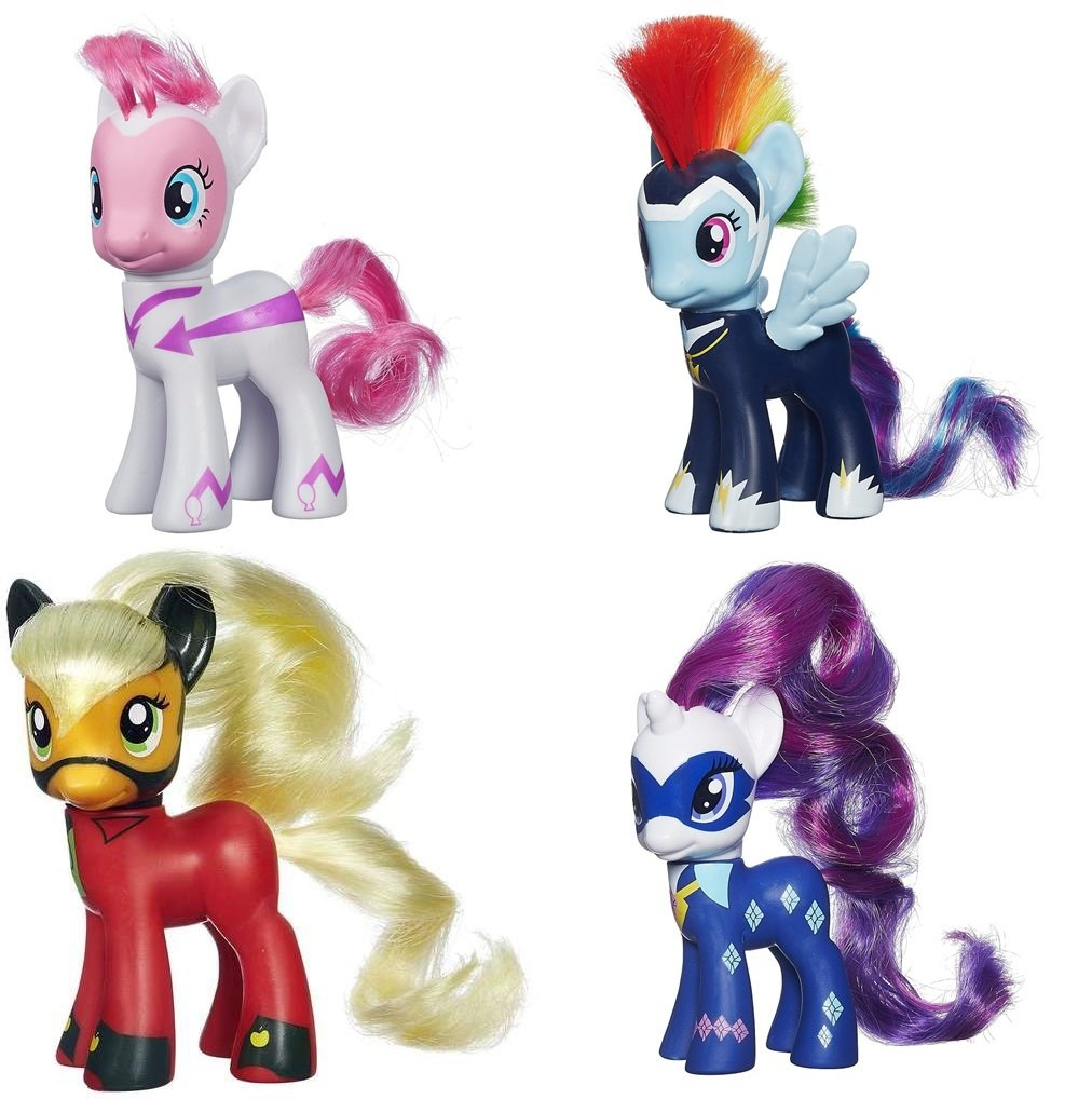 My Little Pony Power Ponies Fili-Second Pinkie Pie, Zapp Rainbow Dash Mistress Mare-Velous Applejack & Radiance Rarity Figure Bundle by MLP